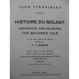 STRAVINSKY Igor Histoire du Soldat Orchestre