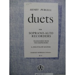 PURCELL Henry Duets Soprano Alto Recorders Flûte à bec 1966