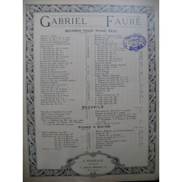 FAURE Gabriel 4ème Nocturne Piano