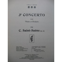 SAINT-SAENS Camille Concerto No 3 op 61 Violon Piano 1957