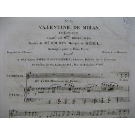 MÉHUL Valentine de Milan No 3 Chant Piano 1822