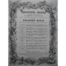 DAVID Félicien Christophe Colomb No 4 bis Chant Piano ca1860