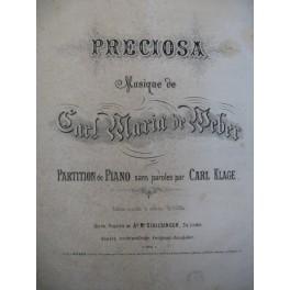 De WEBER Carl Maria Preciosa Piano solo ca1830