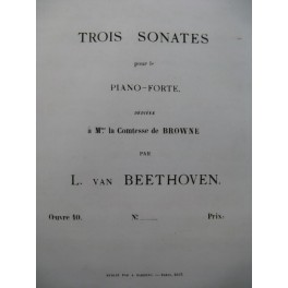BEETHOVEN Sonate op 10 No 1 Piano 1863