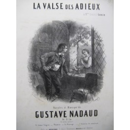 NADAUD Gustave La Valse des Adieux Chant Piano ca1850