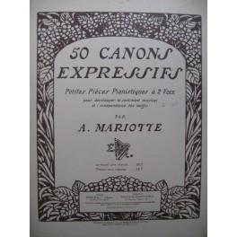 MARIOTTE Antoine 50 Canons Expressifs 1ère Série No 1 à 25 Piano 1920