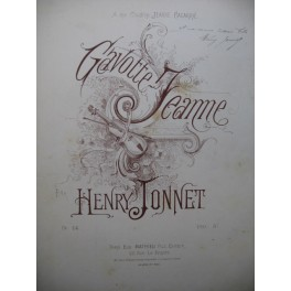 JONNET Henry Gavotte Jeanne Piano XIXe siècle