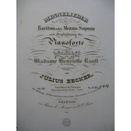 BECKER Julius Minnelieder Chant Piano ca1845