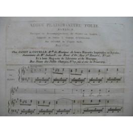 BEGREZ Pierre-Ignace Adieu Plaisir Adieu Folie Chant Piano ou Harpe ca1815