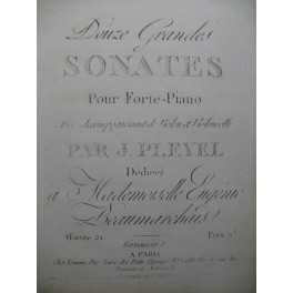 PLEYEL Ignace 3 Sonates op 31 Violon 1796