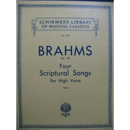 BRAHMS Johannes Four Scriptural Songs op 121 Chant Piano