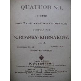 RIMSKY-KORSAKOW N. Quatuor No 1 Violon Alto Violoncelle
