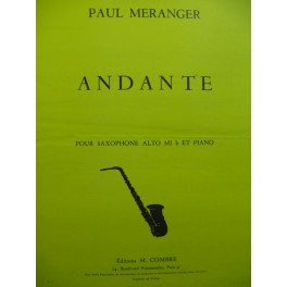 MERANGER Paul Andante Piano Saxophone alto 1977