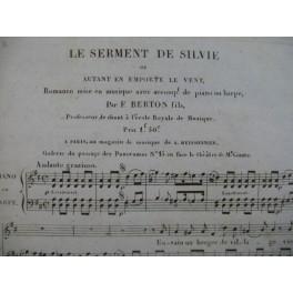 BERTON F. Fils Le Serment de Silvie Chant Piano ou Harpe ca1830