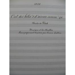 LHUILLIER Edmond C'est des Bêtis's d'aimer Manuscrit Chant Piano 1917