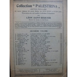 Collection Palestrina Oeuvres Religieuses des Grands Maîtres Chant seul 1913