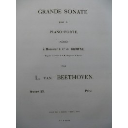 BEETHOVEN Sonate op 22 Piano 1863