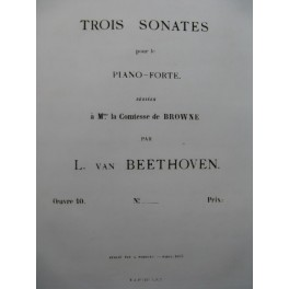 BEETHOVEN Sonate op 10 No 2 Piano 1863