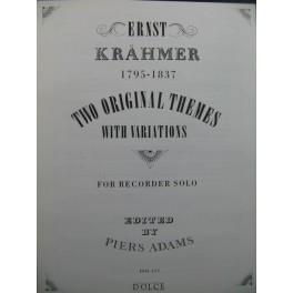KRÄHMER Ernst Two Original Themes Recorder Flûte à Bec solo 1993