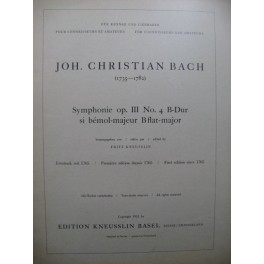BACH Johann Christoph Symphonie op 3 No 4 Orchestre 1953