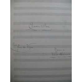 DÉRIVIS Louis Chanson Slave Manuscrit Chant Piano