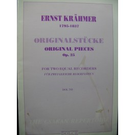 KRAHMER Ernst Originalstücke op 25 2 Recorders Flûtes à bec