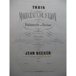 BECKER Jean Allegretto Piano Violoncelle 1872