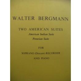BERGMANN Walter Two American Suites Recorder Piano Flûte à bec 1973