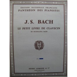 BACH J. S. Le Petit Livre de Clavecin de Magdalena Bach Piano
