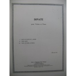 MILHAUD Darius Sonate Violon Piano 1914