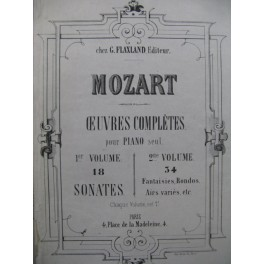 MOZART W. A. Oeuvres Complètes 2e Volume 34 Fantaises Rondos Airs Piano ca1863