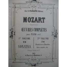 MOZART W. A. Oeuvres Complètes 1er Volume 18 Sonates Piano ca1863