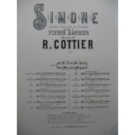 COTTIER R. Simone No 9 Air de Grimaldi Chant Piano 1882