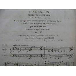 BERTON F. Fils L'Abandon Chant Piano ou Harpe ca1830