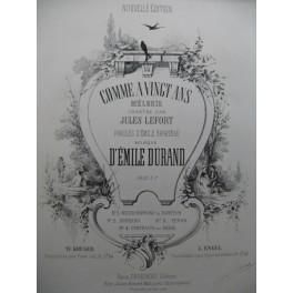 DURAND Emile Comme à Vingt Ans Piano Chant XIXe siècle