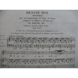 BERTON F. Fils Devine moi Chant Piano ou Harpe ca1830
