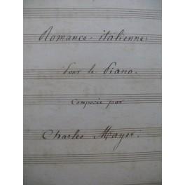 MAYER Charles Romance Italienne Manuscrit Piano XIXe