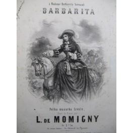 DE MOMIGNY L. Barbarita Polka Mazurka Créole Piano ca1850