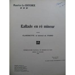 LE BOUCHER Maurice Ballade en ré mineur Piano Clarinette 1935