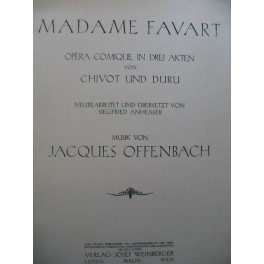 OFFENBACH Jacques Madame Favart Opéra Allemand Chant Piano 1930