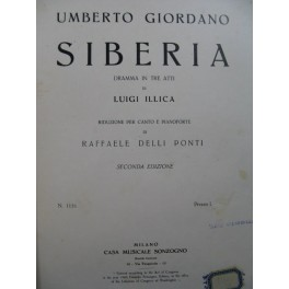 GIORDANO Umberto Siberia Opéra Chant Piano 1903