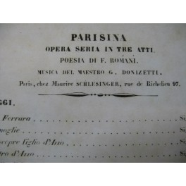 DONIZETTI G. Parisina Opéra Chant Piano 1838