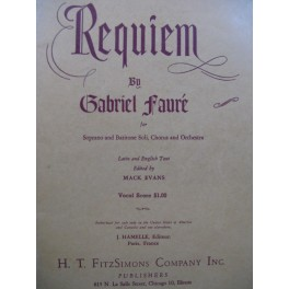 FAURÉ Gabriel Requiem Chant Piano 1953