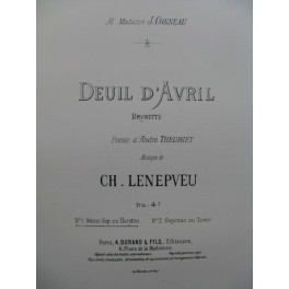 LENEPVEU Ch. Deuil d'Avril Chant Piano