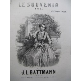 BATTMANN J. L. Le Souvenir Polka Piano 1853