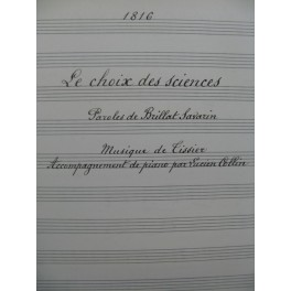 TISSIER Le Choix des Sciences Manuscrit Chant Piano 1917