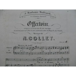 COLLET N. Offertoire Chant Piano ou Orgue XIXe