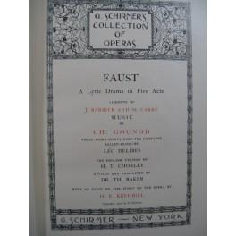 GOUNOD Charles Faust Opéra Anglais Chant Piano 1902