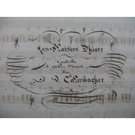 Les Plaisirs d'Hiver Quadrille Manuscrit Piano 4 mains XIXe