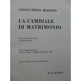 ROSSINI G. La Cambiale di Matrimonio Opéra Chant Piano 1960